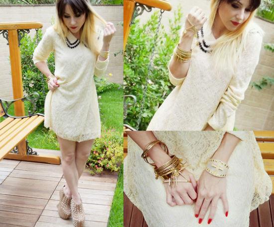 乳白色蕾丝连衣裙