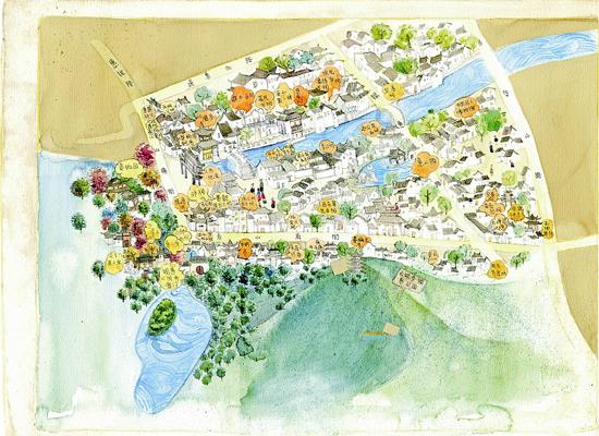 卡通风格手绘地图