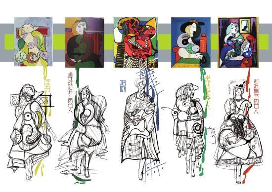 时装设计图手稿铅笔画图片展示