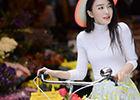 秦岚春日写真色彩明亮拥抱花束享受阳光