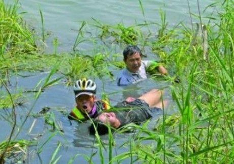 无锡骑手救溺水女